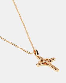 IDesire Heart Cross Pendant Necklace Gold