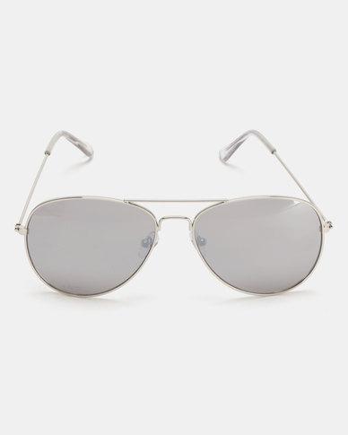 New Look Pilot Aviator Sunglasses Silver Mirrored