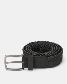 New Look Plaited Leather-Look Belt Black