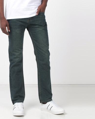 c341da88 New Noble Straight Leg Washed Denim Jeans Green | Zando