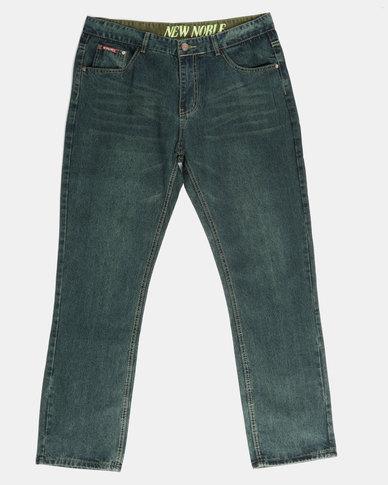 a9466ec2 New Noble Straight Leg Washed Denim Jeans Denim Green | Zando