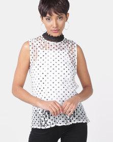 Sissy Boy Girl Boss Lace Shell Top Black/White