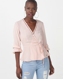 Sissy Boy Girl Boss Wrap Blouse With Ladder Lace Nude