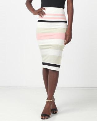 Sissy Boy Sadie Pink/Cream/Black/Gold Stripe Knit Midi Skirt