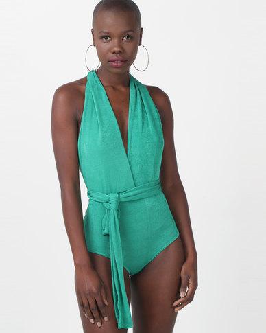 Sissy Boy Spiralling Multi Wrap Green Bodysuit