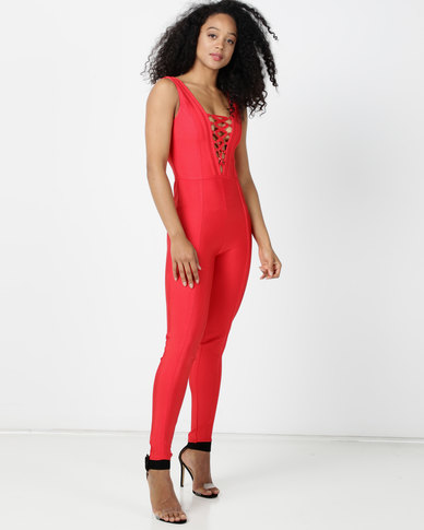 Sissy Boy Bloom Jumpsuit With Front Lace Up Detailing Tangerine