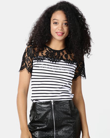 Sissy Boy Falby Black/White Stripe One Up With Lace Panel And Collar