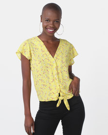 Sissy Boy Yellow Printed Top With Tie