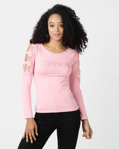 Sissy Boy Pietsa Pink One Up With Flower Crochet Sleeve Inset