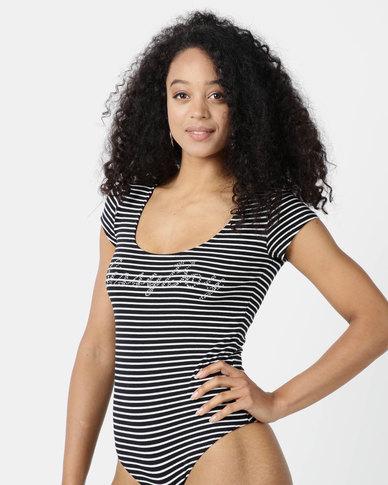 Sissy Boy Rena Black/White Stripe Logo Vest Bodysuit
