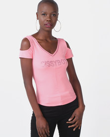 Sissy Boy Rosay Pink Cold Shoulder With Bling Detail