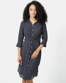 Sissy Boy Hitched Navy/White Knot Shirt Dress