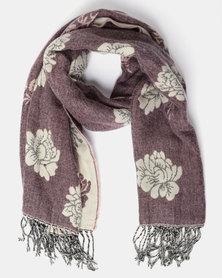 Queenspark Flower Design Tapestry Scarf with Tassels Pink