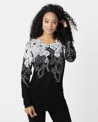 5ba2299661e Queenspark Rose Border Print Knitwear Top Black White