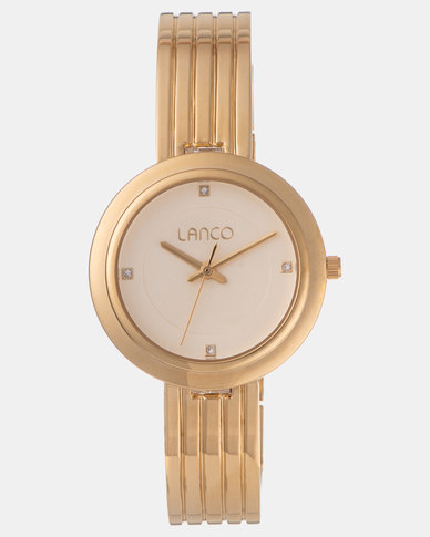 Lanco Ladies Watch Matte Champ DIal IPG Band Gold-tone