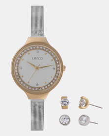 Lanco Ladies Watch Mesh and Gold Earring Set Silver and Gold