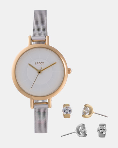 Lanco Ladies Watch Two Tone with Earring Set Gold and Silver