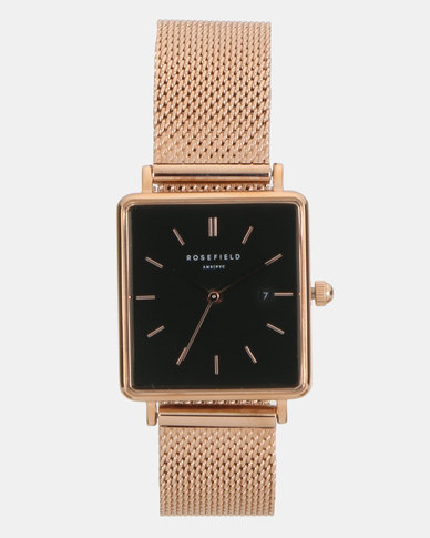 Rosefield The Boxy Black Square Watch Mesh Rosegold