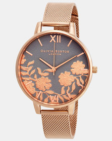 Olivia Burton Lace Detail Mesh Watch Rose Gold