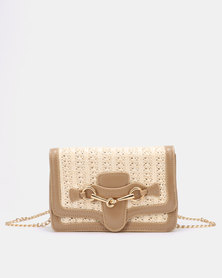 Blackcherry Bag Woven Satchel Bag Taupe