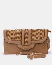Blackcherry Bag Woven Detail Clutch Bag Khaki