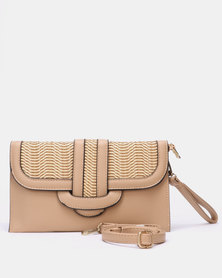 Blackcherry Bag Woven Detail Clutch Bag Beige