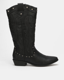 Madison Dylan Mid Calf Western Boot Black