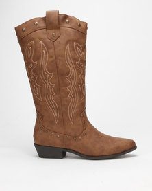 Madison Dylan Mid Calf Western Boot Tan
