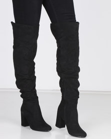 Madison Kadin Heeled Over the Knee Boots Black