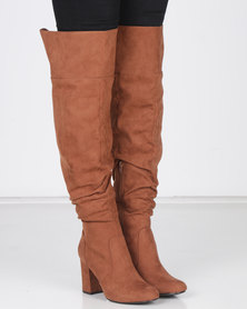 Madison Kadin Heeled Over the Knee Boots Cognac
