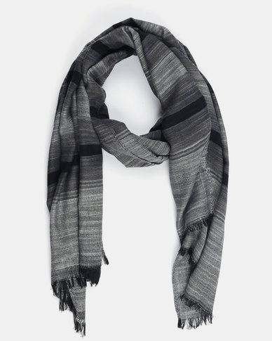 All Heart Striped Blanket Scarf Grey