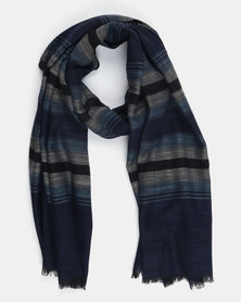 All Heart Striped Ombre Blanket Scarf Navy/Grey
