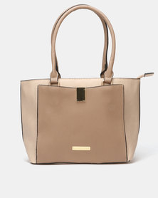 Blackcherry Bag Colourblock Front Pocket Tote Bag Beige/Camel