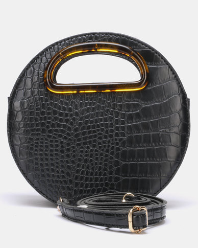 Blackcherry Bag Glam Croc Circular Crossbody Bag Black