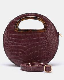 Blackcherry Bag Glam Croc Circular Crossbody Bag Burgundy