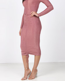 Brett Robson Mandisa Over The Knee Skirt with Ruched Detail at Center Front Pink