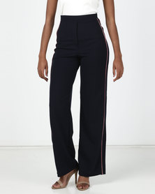 Brett Robson Vera Pants w/ Blush Shimmer Piping Details Navy