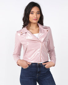 Brett Robson Sage Cropped Jacket w/ Rose Gold Zips & Stud Detail on Collar Pink