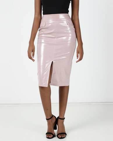 Brett Robson Demi Front Slit Skirt w/ Mock Pocket Flap Detail Pink