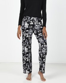 Bella G Rose Pyjama Pants Grey and Black Print
