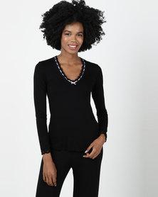 Bella G Bianca Pyjama Top Black