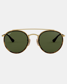 Ray-Ban Round Double Bridge Sunglasses Gold