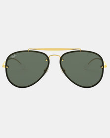Ray-Ban Blaze Aviator Sunglasses Dark Green/Gold