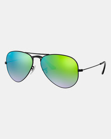Ray-Ban AVIATOR MIRROR Sunglasses SHINY BLACK