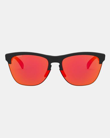 3fa35e9bbbd4 Oakley Frogskins Sunglasses Black Iridium Matte Clear Woodgrain | Zando