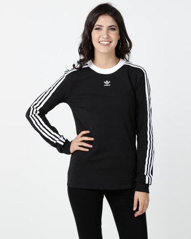 adidas Originals 3 Stripes Long Sleeve Tee Black