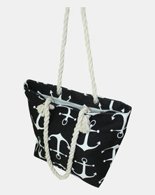 Razberry Black & White Anchor Print Bag with Rope Trim