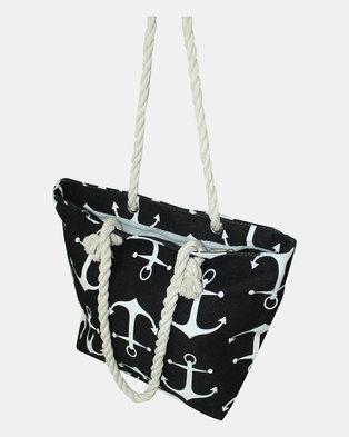 Razberry Black & White Anchor Print Bag with Rope Trim