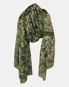 Neutrals Paisly printed Warm Handle Scarf