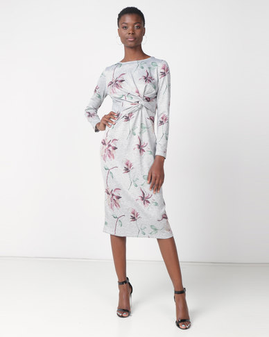 Contempo Floral Dress Grey